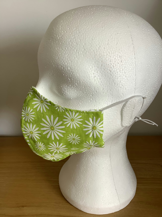 Green floral cotton print, Reusable  face mask,Washable face mask, Free P&P