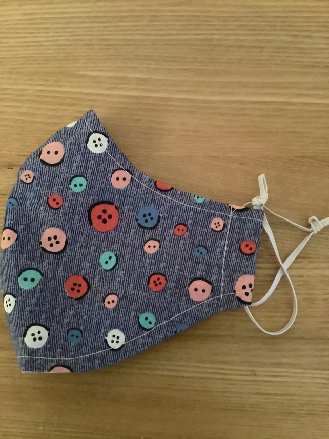 Nice blue with buttons Cotton Face mask, Reusable face mask, face covering.