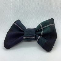 Navy,Green and White stripe Tartan  dog or cat dickie bow