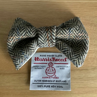 Harris Tweed Dog Bow Tie, Brown And Fawn Herringbone ,over the collar bow tie