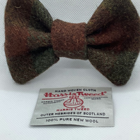 Harris Tweed Dog Bow Tie, Brown And Green Check,over the collar bow tie
