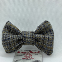 Harris Tweed Dog Bow Tie, Mustard,Navy And White Check, over the collar bow tie