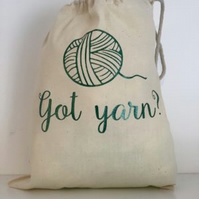 Got yarn , 100% cotton knitting Sack with drawstring.project bag