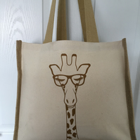 Giraffe Design Great QualityJute & cotton tote with double bottle holder inside