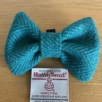 Harris Tweed Dog Bow Tie,Blue & Green Herringbone,Over the collar bow tie