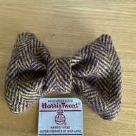 Harris Tweed Dog Bow Tie, Purple and Amber Herringbone, over the collar bow tie