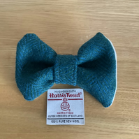 Harris Tweed Dog Bow Tie, Teal and Blue Herringbone, over the collar bow tie