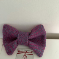 Harris Tweed Dog Bow Tie, Lilac and Pink Herringbone, over the collar bow tie