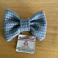 Harris Tweed Dog Bow Tie, Light Blue, Pink &White Stripe,over the collar bow tie