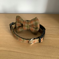 Tan, Green and Rust check Scottish Tweed Collar and bow tie Set,