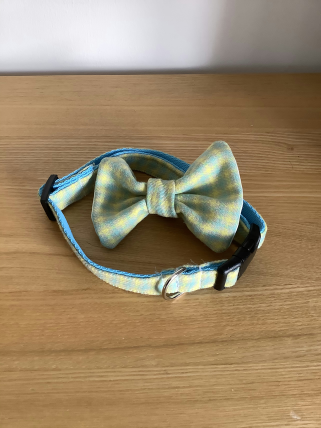 Light Blue and Yellow check Scottish Tweed Collar and bow tie Set,