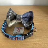 Grey , Black and Beige Check Harris Tweed Collar and bow tie Set,