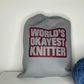 World's Okayest Knitter, 100% cotton Knitting Sack with drawstring