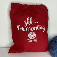 Shh I'M Counting ,100% cotton Knitting Sack with drawstring