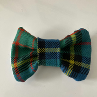 Blue ,Green and Black with Yellow stripe Tartan  dog or cat dickie bow