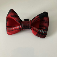 Red,White and Black Heavy Quality Tartan  dog or cat dickie bow