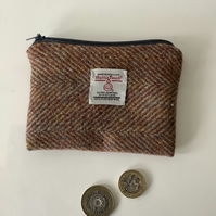 Beige and Rust Herringbone Harris Tweed coin purse ,Zip pouch