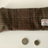 Brown and Fawn Check Harris Tweed Pencil Case  ,Zip pouch