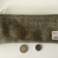 Brown and Green Herringbone Harris Tweed Pencil Case  ,Zip pouch
