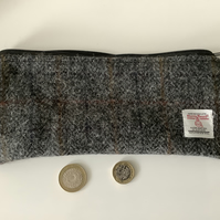 Grey Check Harris Tweed Pencil Case  ,Zip pouch