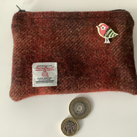 Shades of Red Harris Tweed coin purse ,Zip pouch