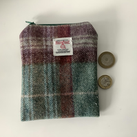 Green and Wine Check Harris Tweed coin purse ,Zip pouch