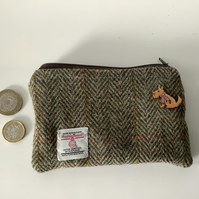 Brown and Green Herringbone Harris Tweed coin purse ,Zip pouch