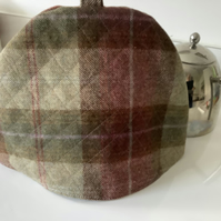 Beige and Russet Tweed tea cosy, teapot cover fabric tea cozy.