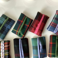 Scottish wool Tartan Pocket Tissue Cover ,Tissue Case , Gift for Her,