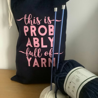 This is probably full of yarn ,Large 100% cotton knitting Sack with drawstring.