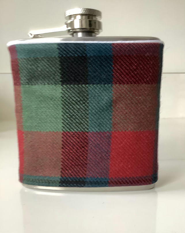 Blue ,Red and Green Tartan Scotland  6 oz Hip flask , Ideal Christmas gift,