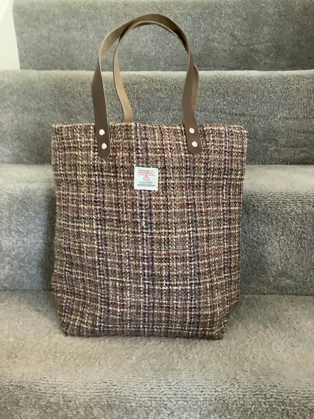 Authentic Red check  Harris tweed  tote bag with leather handles,