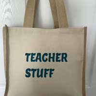 Teacher stuff QualityJute & cotton tote with double bottle holder inside