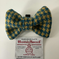 Harris Tweed Dog Bow Tie,BLUE and YELLOW HOUNDSTOUTH over collar bow tie (2HT3)