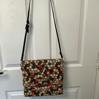 Large Tapestry design fold over crossbody bag, fully lined ,magnetic fastening