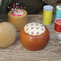 Small Turned Wooden Pincushion