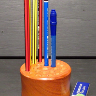Wooden hand turned pencil holder
