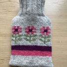Knitted Flowers Mini Hot Water Bottle Cover