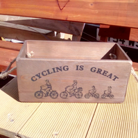 "Quirky large size ""CYCLING IS GREAT"" rustic wooden storage box. Gift box hamper"