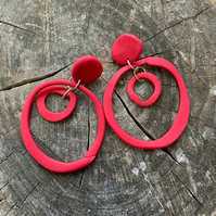 wonky colourful hoop earrings, polymer clay hoop earrings, circle earrings