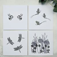 Flying insect and meadow flower note cards, pack of 4