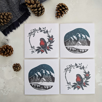 Robin and Woodland Cabin cards, pack of 4