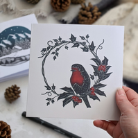 Robin in Holly and Ivy Wreath Card