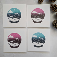 Snow Globe Christmas Card pack of 4