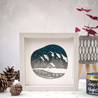 Cosy Woodland Cabin, Snow Covered Mountain Cabin Linocut Print, Limited Edition