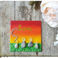 "Seaglass and pebble art ""Love part 1 - Family"""
