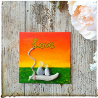 "Seaglass, pebble and driftwood canvas ""Love part 2 - PARTNERS"""