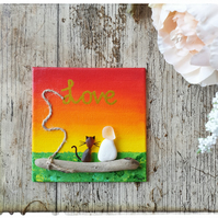 "Seaglass, pebbles and driftwood art ""Love part 3 - CATS"""