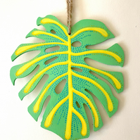 Green and Yellow Monstera Leaf Wall Hanging