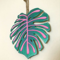 Turquoise and Pink Monstera Leaf Wall Hanging